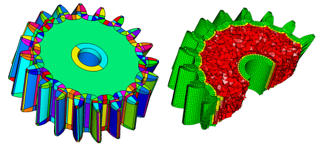 Auto hex-skin subdivision and hybrid meshing in CADfix 12. (image courtesy of ITI.)
