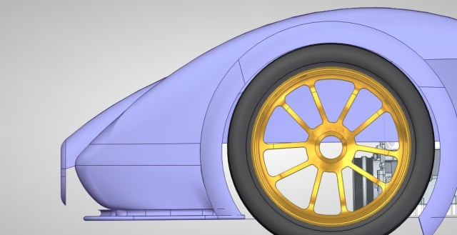 A CAD model of the LRT-1 supercar being designed by LEE Race Technology. (Image courtesy of LEE Race Technology.)