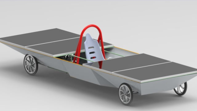 Rendering of a solar-powered car created by senior students at DSHS. (Image courtesy of DSHS.)