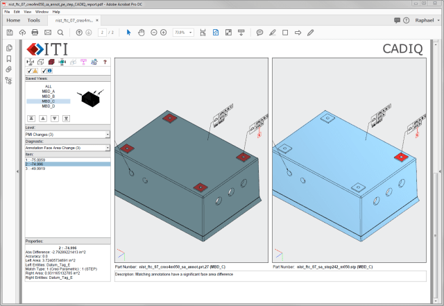 An example of the new 3D PDF report format generated by CADIQ. (Image courtesy of ITI.)