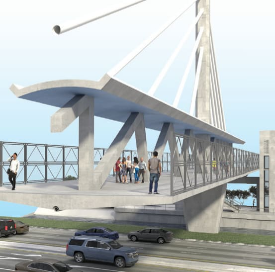 No ordinary pedestrian bridge. The FIU bridge was to have meeting places, even WiFi. Structurally designed to act like an I-beam, the FIU bridge employs truss elements along the middle of the walkway so that the section behaves more like a giant I-beam. Note the cables to the tower are made of pipe. Strengthening tendons in concrete truss elements and in the deck are not shown.(Image courtesy of MCM/FIGG.)