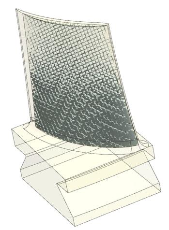 NX CAD variable rod diameter lattice on a turbine blade. (Image courtesy of Siemens.)