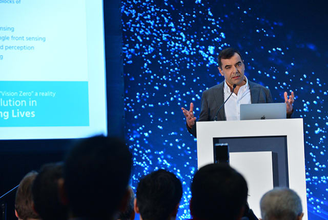 Amnon Shashua, CEO of Mobileye, at CES 2019. (Image courtesy of Intel.)
