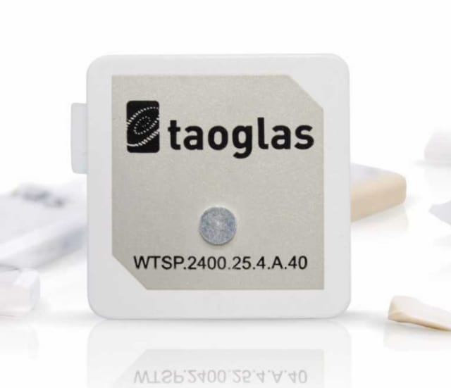The 25mm Embedded 2.4GHz Taoglas Terrablast patch antenna. (Image courtesy of Taoglas.)