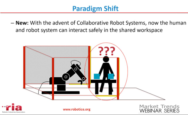 Collaborative robot systems involve sharing the workspace with humans. Safety features such as physical safeguards or pressure sensors that automatically shut off the robot cannot be used without interfering with the robot's function. Can this man safely approach the robot? (Image courtesy of RIA and Clarissa Carvalho, Robot Safety Webinar.)