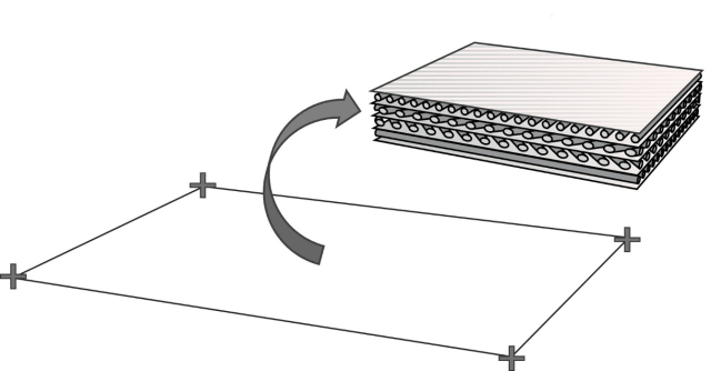 Simple on the outside, but complex on the inside. For the sake of getting the analysis to finish in this century, FEA programs resort to a simplification technique. Most FEA programs, including HyperSizer, use a composite element, which accepts parameters for number of plies, orientation of fibers in each ply and material properties for the fiber as well as the matrix—but reduces it all to a 2D, 4-noded shell element. (Image courtesy of Collier Research.)