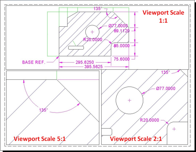 Figure 4. Annotation Object application example on Drawing Layout with different Viewport Scales.