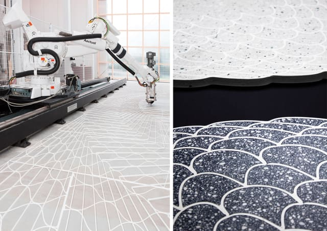 On the left, an XL 3D printer used to 3D print floor patterns. On the right, 3D-printed floors filled with terrazzo. (Images courtesy of Aectual.)