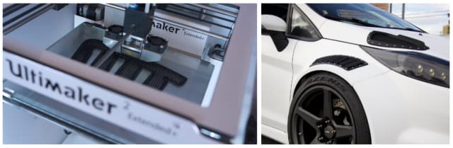 Vent being printed (left) and the final product on the car (right).