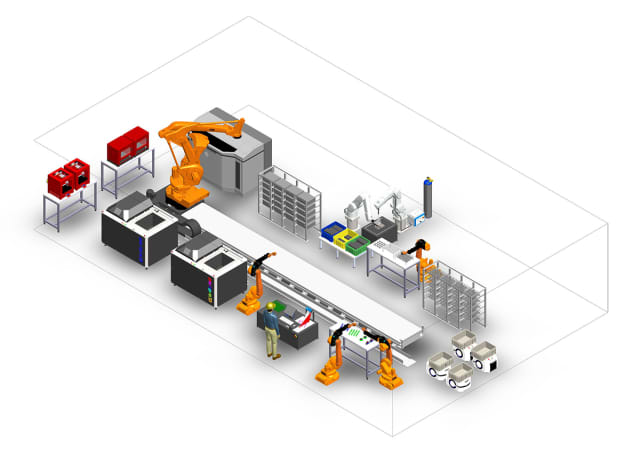 A diagram of a complete Digital Manufacturing System, in which printed parts are automatically moved from a 3D printer, such as the HP system above, to post-processing stations, followed by automatic inspection and packaging for shipment. (Image courtesy of AMT.)