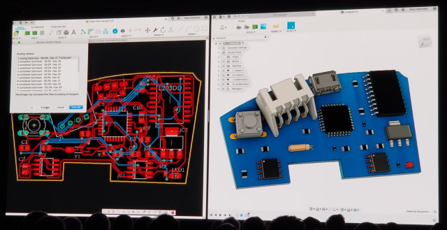 Link between the PCB schematic and 3D geometry in Fusion 360. (Image from AU keynote.)