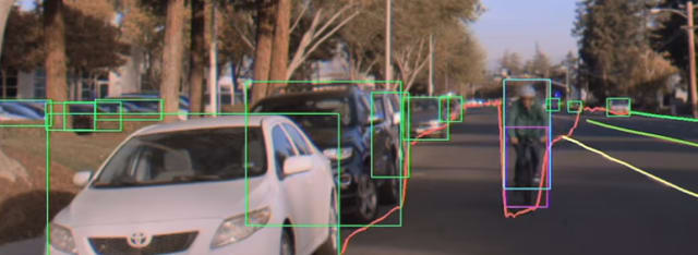 NVIDIA video shown at CES and GTC shows company's ability to detect cyclist on a bike. NVIDIA software was not used in the Uber vehicle. (Picture courtesy of NVIDIA)