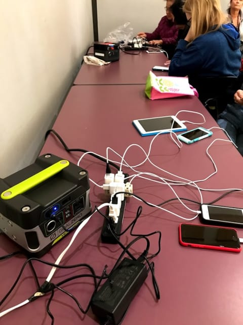 Mister, do you have an outlet? Electricity is a rarity in Marin County, Calif., which lost 99 percent of its power for two days. The Margaret Todd Senior Center, in Novato, turns on its generator and let's charge our devices.