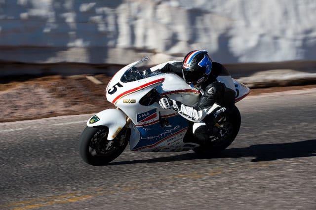 The Lightning Motorcycles LS-218 beat out the fastest gas-powered bikes in the world to take first place at Pikes Peak in 2013. (Image courtesy of Lightning Motorcycles.)