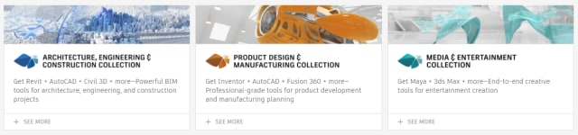 Autodesk's Collections, groups of different software verticals, are only available on subscription. (Image courtesy of Autodesk.)