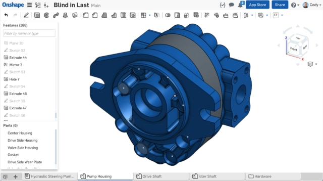 Designing multiple parts in Onshape is easier than traditional multi-part design because of a shared parametric history, according to Onshape. (Image courtesy of Onshape.)