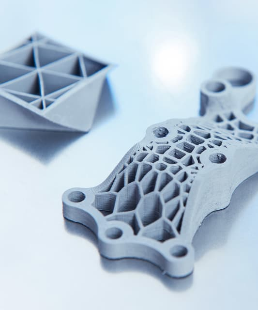 Green parts 3Dprinted with unique geometries in the Fusion Factory. (Image courtesy of Xerion.)