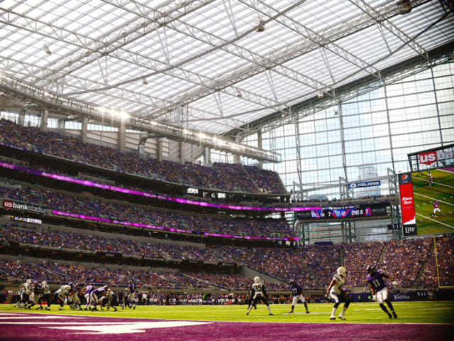 Above the players, an ETFE roof. Above that, only sky. (Image courtesy of Hannah Foslien/Getty Images.)
