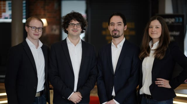 AMendate founders, from left, Gereon Deppe, CFO; Thomas Rieher, CEO; Steffen Vogelsang, CTO; and Anne Düchting, COO. (Picture courtesy of Hexagon.)