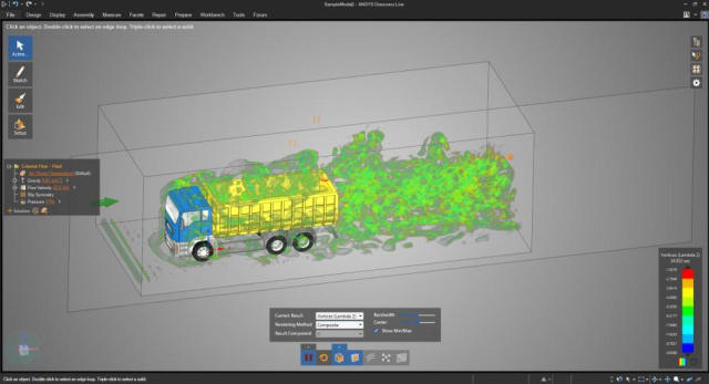 A screenshot of ANSYS Discovery Live. (Image courtesy of ANSYS.)