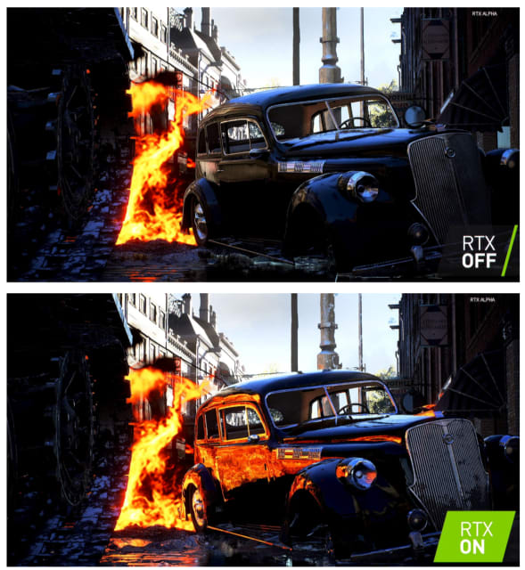 Comparison of a screenshot from EA's Battlefield V with (bottom) and without (top) RTX ray tracing. Note the photorealistic reflections in the RTX-on frame compared to the absence of reflection in the RTX-off frame. (Image courtesy of NVIDIA.)
