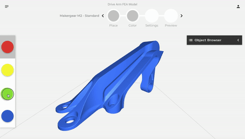 Attached to each of the colors is a material profile associated with print settings, such as extruder temperature. The g-code that is outputted from CANVAS directs the printer and Palette 2 to adjust settings when necessary. (Image courtesy of Mosaic.)