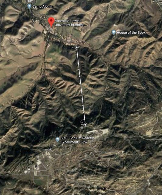 A little more than a mile separated the Brandeis-Bardin Institute from the Santa Susana Field Laboratory. (Image courtesy of Google Mops)