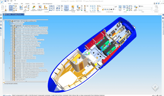 "Figure 2c. The hull and deck are the only ""fixed"" parts of the boat as they are based upon the production molds. The software allows Matt Barton and his team to achieve a high level of finish on interior fittings and furnishings."