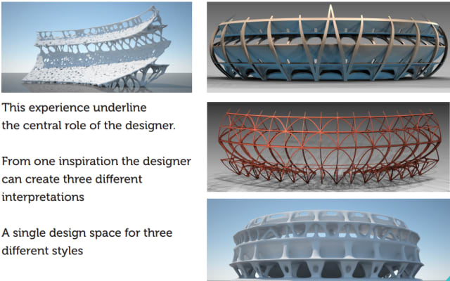 A series of designs inspired by topology optimization. The speed with which these design ideas spawned from topology optimization tools encouraged better exploration of the design space. (Image courtesy of Altair.)