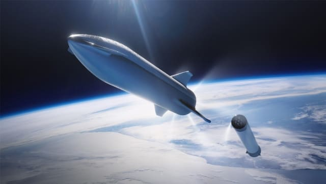 Concept art for SpaceX's planned Starship, which founder Elon Musk hopes will bring humans to Mars. (Image courtesy of SpaceX.)