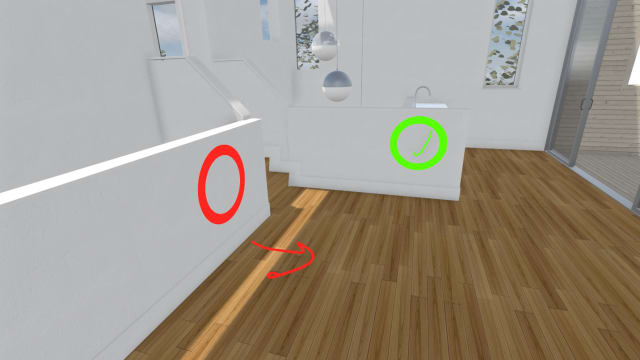 The mark-up tool allows for scribbles to make note of any changes to design. (Image courtesy of IrisVR.)