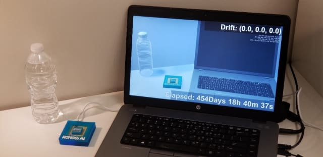 This demonstration sends a live feed of a static ROMOS chip (to the left of the laptop) to a potential client. The application on the laptop screen was developed in Unity and reflects any movement (whether real or due to error) of the ROMOS chip. After well over a year, the static ROMOS hasn't accumulated any drift error.
