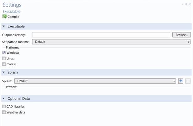Figure 4. The Executable Settings pane in Application Builder.