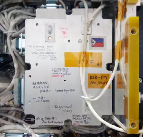 Figure 3. Handwritten messages from engineers on the ARU. (Image courtesy of Lorenzo Sabug, Jr., STAMINA4Space and UP EEEI.)