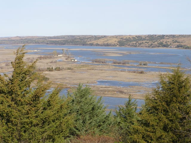 The Missouri River's floodplains above the Niobrara River. Much of the natural wetland that used to surround the Missouri has been lost or converted into farmland, increasing the amount of runoff pouring into it.(Image courtesy of Chris Light.)