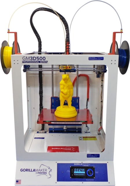 Figure 3: The GorillaMaker 3D500 Professional printer has many industry-leading features including a two-year warranty, and full service and support for the user-replaceable hot-end.