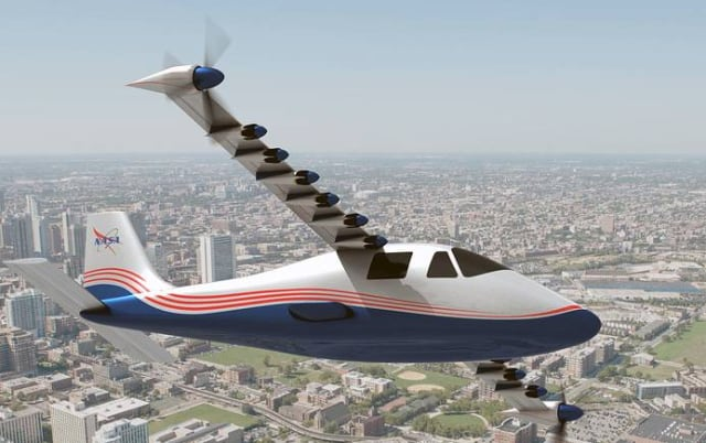 Figure 5. NASA's electric plane concept, the X-57 Maxwell, had 14 electric motor driven propellers. (Image courtesy of NASA Langley/Advanced Concepts Lab, AMA, Inc.)