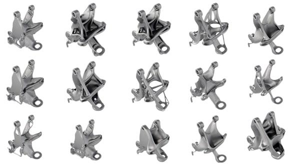 Seat bracket iterations. (Image courtesy of Autodesk.)