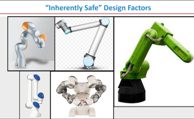 "Robots with rounded edges and padding are considered ""inherently safe"" since they are less likely to bruise humans who accidentally bump into them. (Image courtesy of RIA and Clarissa Carvalho, Robot Safety Webinar.)"