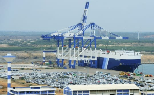 Sri Lankan port turned over to Chinese management, gets a lift from the New Silk Road money. (Image courtesy of South China Morning Post [SCMP].)
