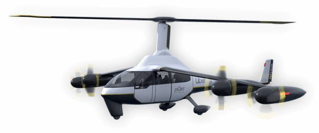 Jaunt air taxi, also all electric and the result of working with Uber, has one big rotor for vertical flight and 4 propellers for horizontal flight. (Image courtesy of Jaunt Air Mobility.)