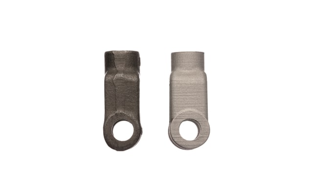 (Right) A yoke for a brake assembly produced with the DM Studio system as a replacement part for heavy machinery and (left) the original part that was cast and machined. (Image courtesy of Desktop Metal.)