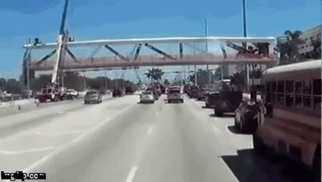 Frame by frame of bridge collapse, shows worker(s?) on the top of the bridge and a crane being used, possibly for a worker safety line, attached to equipment. (Image courtesy of epoxybot on Eng-Tips.)