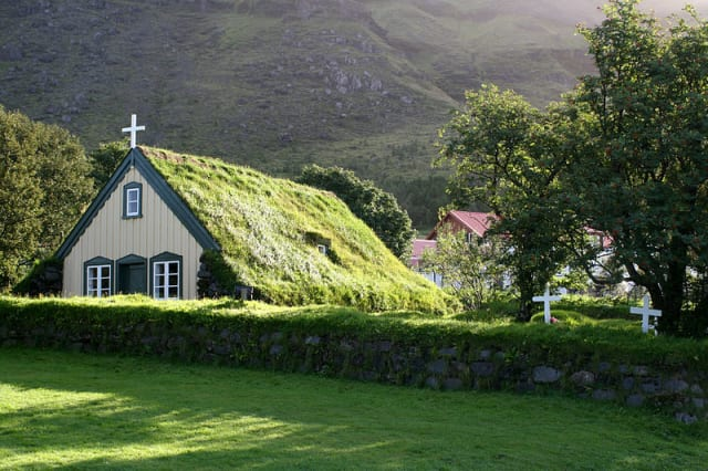 A sod roof church in Norway. (Image courtesy of Wikipedia.)