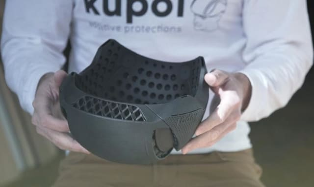 A 3D-printed bike helmet is 20 percent lighter than traditional models. It was printed for Syncro Innovation by Sculpteo. (Image courtesy of HP.)