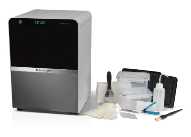 The FabPro1000 printer and included accessories. (Image courtesy of 3D Systems.)