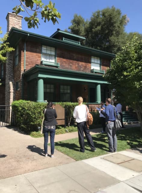 "Figure 6– The house that built HP. Behind it is the famous garage. The plaque reads: ""Birthplace of the Silicon Valley."" It is now listed in the National Register of Historic Places by the US Dept. of the Interior.(Image courtesy of Roopinder Tara.)"
