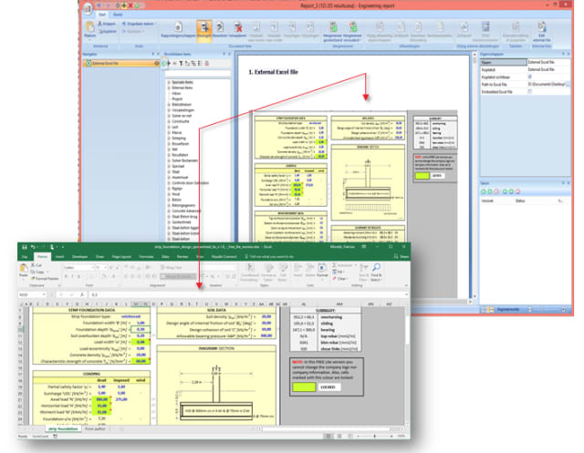 Engineering reports can be directly exported to an Excel file. (Image courtesy of SCIA.)