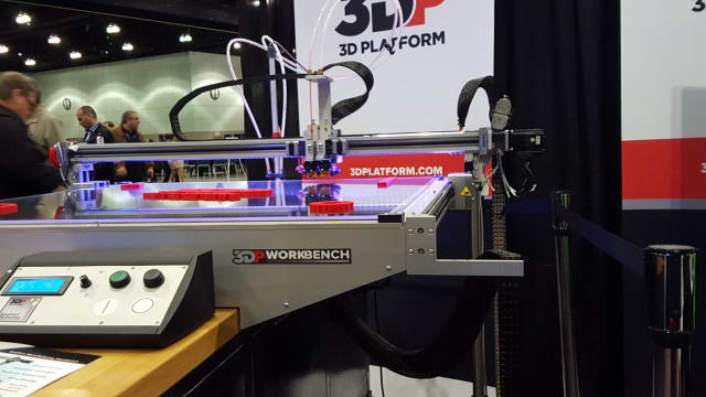 3D Platform's printer creating parts at all corners of its buildplate.