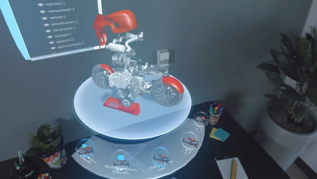 The Meta 2 virtual platform, with configuration and display models on the lower shelf. (Image courtesy of SOLIDWORKS).